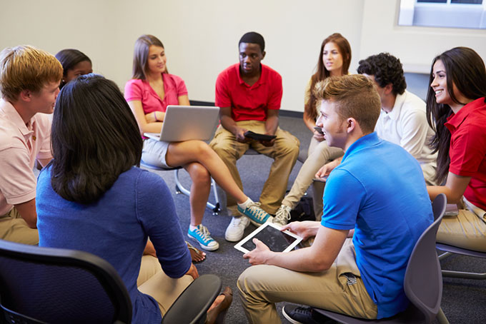 High school blended learning group discussion