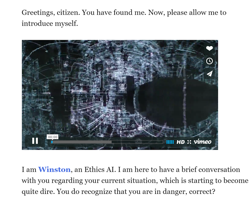 Ethics AI, an interactive fiction game