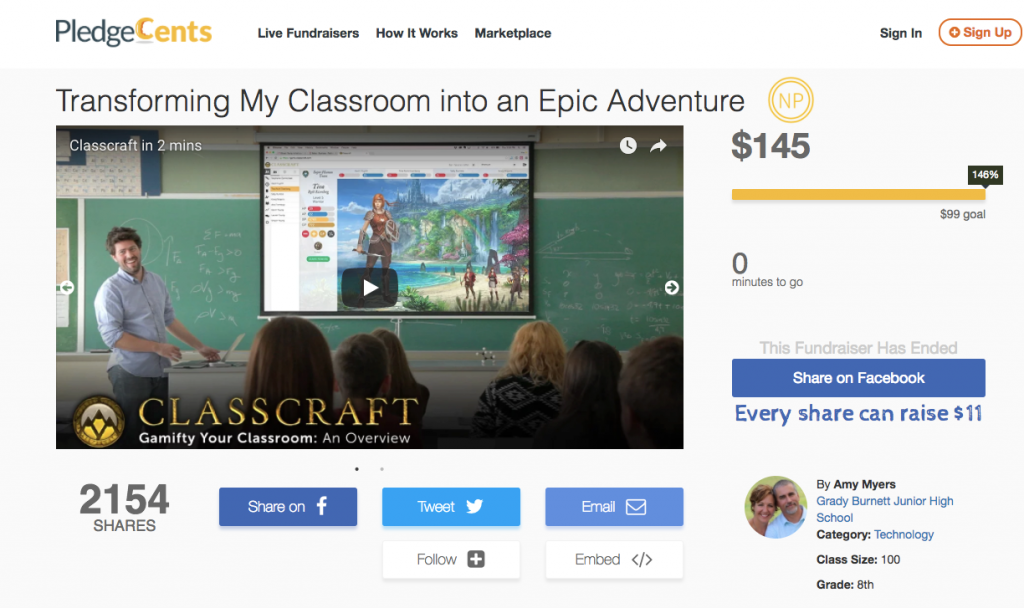 Classcraft PledgeCents Example